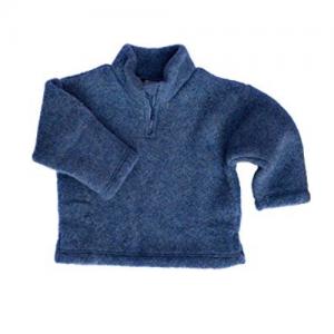Engel – Sweater I økologisk Uldfleece Med Lynlås, Blåmeleret