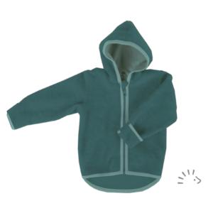 Iobio – Jakke I økologisk Uldfleece, Smaragd