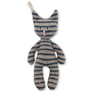 Katten Lo – Bamse I 100% økologisk Bomuld/uld, Grå/mørkeblå